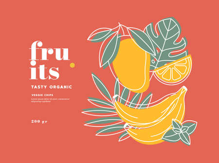 Fruits design template. Mango, lemon, banana. Scandinavian style. Healthy organic food. Vectores