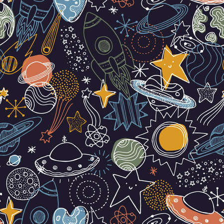 Various space elements seamless pattern. Linear graphic. Scandinavian minimalist style. Planet, spaceship, star. Vector illustration Vectores
