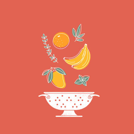 Fruits composition with colander. Vegetables background. Scandinavian style. Healthy organic food.