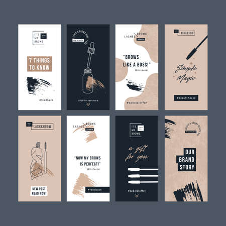 Brow bar social media design templates. Vertical designs. Beauty branding. Vectores