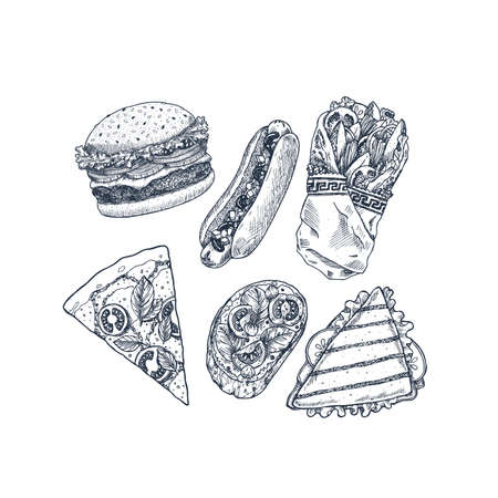 Hand drawn fast food set. Pizza, Italian bruschetta, burger, sandwich, hotdog, greek gyros. Vector illustration. Vectores