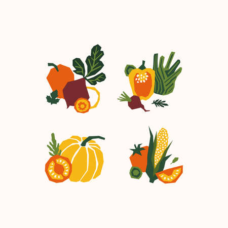 Organic papercut vegetables. Colored farm vegetables compositions. Pepper, pumpkin, tomato, corn, fennel, beet. Vectores