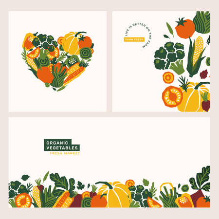 Organic papercut vegetables banner. Colored farm vegetables design templates. Pepper, pumpkin, tomato, corn, fennel, beet. Heart shape.