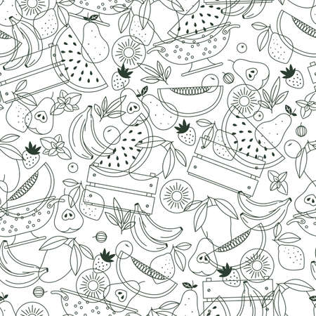 Fruit seamless pattern. Linear graphic. Fruits background. Scandinavian style. Healthy organic food pattern. Vector illustration.