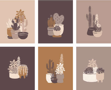 Cactus cards vintage collection. Succulent art print set. Vintage hand drawn style.