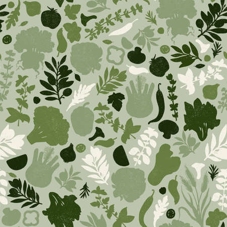 Vegetables seamless pattern. Textured silhouettes. Vegetables background. Healthy organic food pattern.
