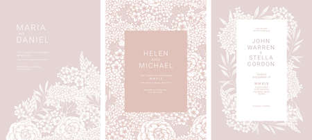Elegant dust pink floral wedding invitation collection. Design templates. Vectores