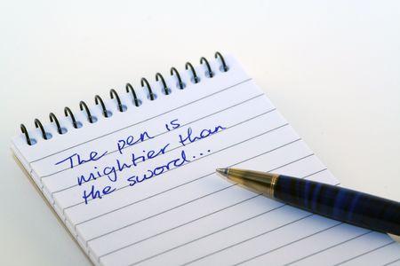 biro: pen on a notepad
