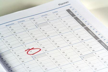 calendar planner with an important day marked