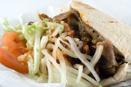 A donner kebab - traditional late night takeaway food in England after social events
