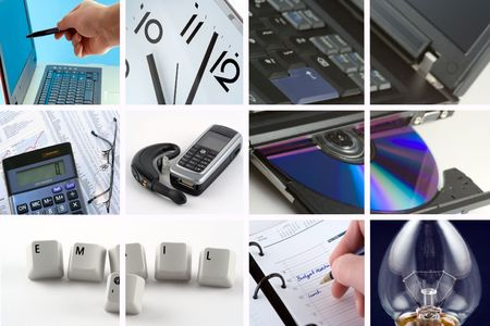 A collection of images representing doing business photo