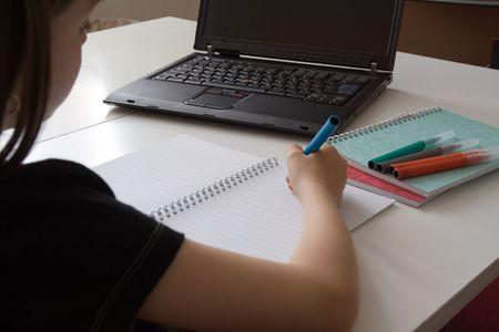 Child completing homework