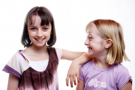 Two young happy sisters photo