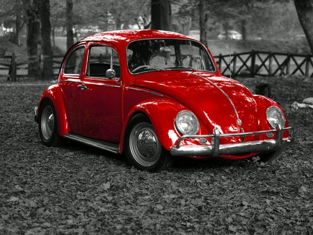 Car red vintage Stock Photo