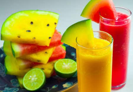 watermelon juice: watermelon juice and lime Stock Photo