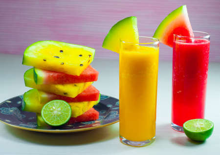 watermelon juice: red and yellow watermelon juice is made from material that is still very fresh watermelon is very good for supporting the activities of diets
