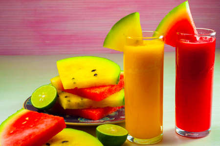 red and yellow watermelon juice is made from material that is still very fresh watermelon is very good for supporting the activities of diets