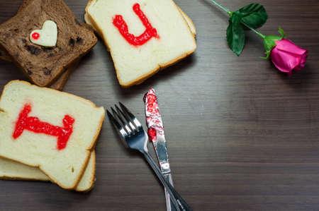 lovingly: photo love bread. bread valentine. photo lovingly taste delicious bread with strawberry jam sweetener, is perfect for Valentines Day decor