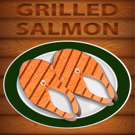 Tasty freshly grilled salmon on big oval dish. Dish is on the wooden table. Vector image can be used for restaurant and cafe menu design, food posters, print cards and other crafts.