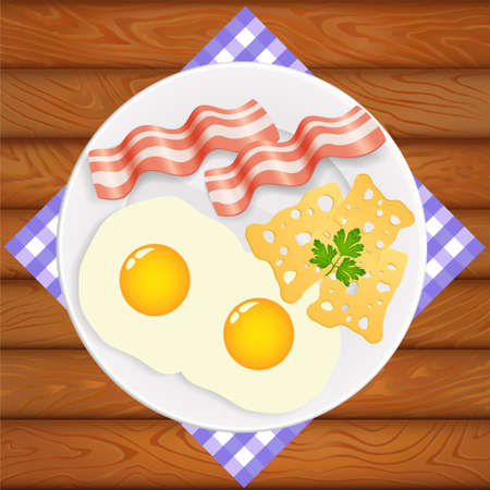 Delicious breakfast on shiny white plate. Plate is on the wooden table. Vector image can be used for restaurant and cafe menu design, food posters, print cards and other crafts.
