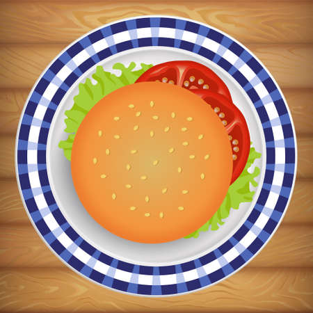 Tasty fresh burger with tomato and salad on bright plate. Vector image can be used for restaurant and cafe menu design, food posters, print cards and other crafts.