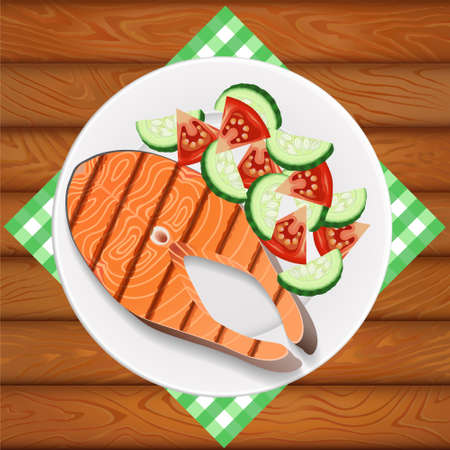 Freshly grilled salmon with fresh salad. White dish is on the wooden table. Image can be used for restaurant and cafe menu design, food posters, print cards and other crafts.