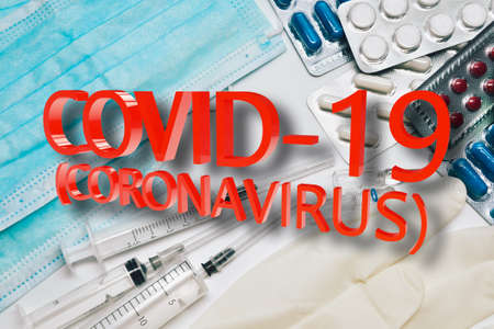 COVID-19 sign for creating posters, banners or news articles about coronavirus. Coronavirus protection. Prevention the spread of COVID-19.