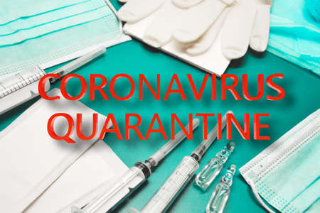 COVID-19 quarantine sign for creating posters, banners or news articles about coronavirus. Self-isolation. Patient treatment in hospital. Prevention the spread of COVID-19.
