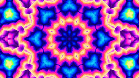 Kaleidoscope wallpaper. Hypnotic abstract image. Mandala surreal ornament. Psychedelic multicolor illustration.