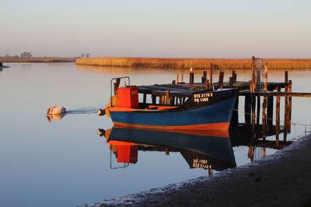 Anchored river boat