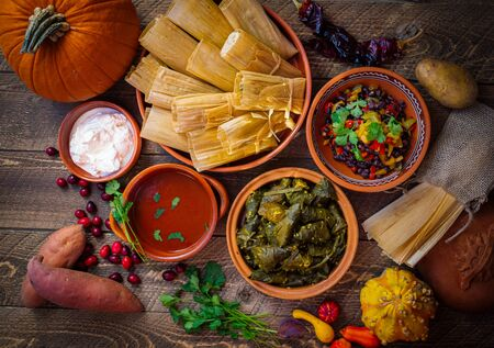 Festive Mexican tamales and side dishes