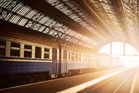 going places: Train at dawn