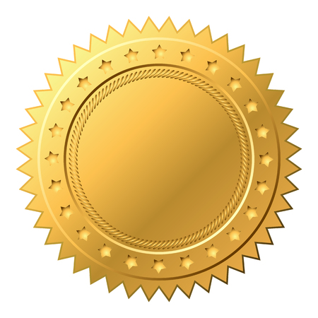 Vector illustration of gold seal with stars, Golden Label - Vector
