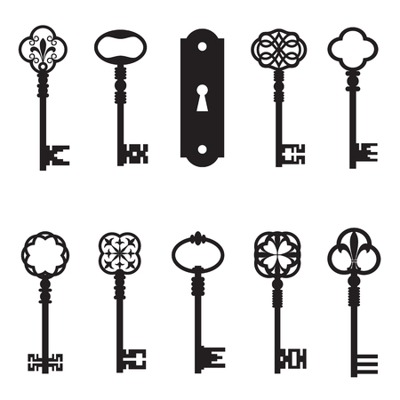 Ornamental medieval vintage keys with intricate forging, composed of fleur-de-lis elements, victorian leaf scrolls and heart shaped swirls. - Vector