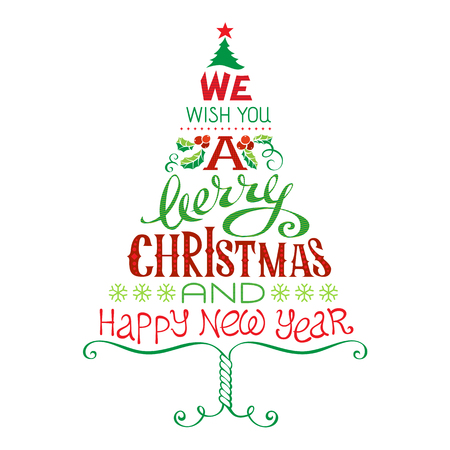 We wish you a merry Christmas and Happy New Year in a beautiful Christmas Tree. Christmas Colorful Design.