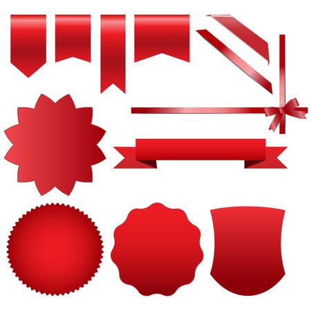 Labels and Ribbon Set Vector illustration Ilustracja