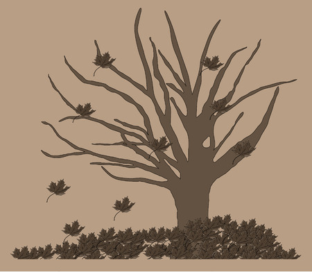 gloom: Dry tree with falling leaves Illustration