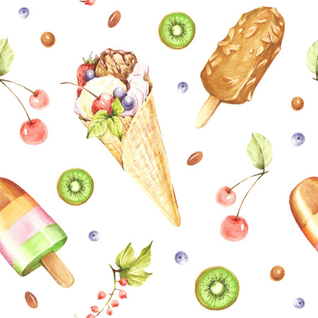Seamless pattern with ice cream. Hand draw watercolor illustration.