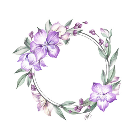 Frame with Clematis. Hand draw watercolor illustration.