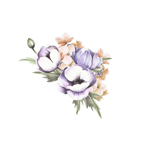 Bouquet of anemones. Watercolor illustration.It can be used for postcards, greetings, invitation, design element