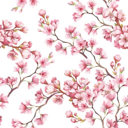 Nahtlose Muster mit Kirschblüten. Aquarellabbildung