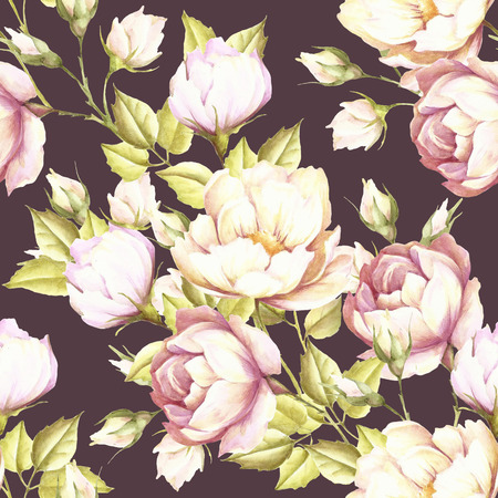 luxuriously: Seamless pattern with lush roses.Hand draw watercolor illustration. Stock Photo