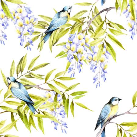 Naadloos patroon met wisteria. Hand teken aquarel illustratie. Stockfoto