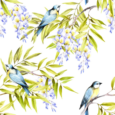 Seamless pattern with wisteria. Hand draw watercolor illustration. Stock Photo