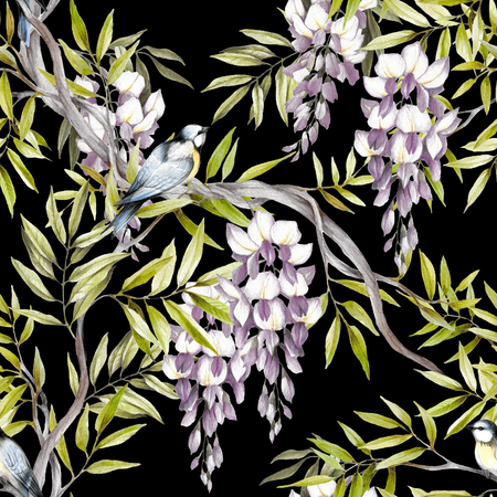 chickadee: Seamless pattern with wisteria. Hand draw watercolor illustration. Stock Photo