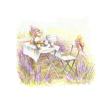 nice france: A romantic picture in the style of Provence. Watercolor illustration