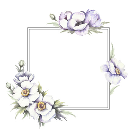 Frame with anemones. Hand draw watercolor illustration