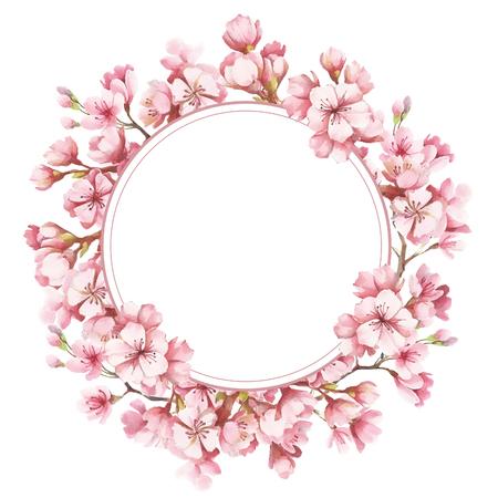 桜の花とフレーム。水彩イラスト