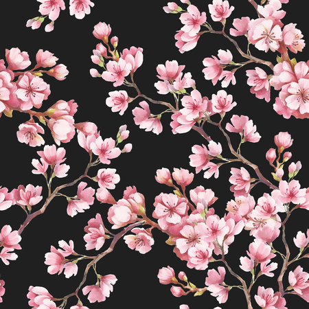 Seamless pattern with cherry blossoms. Watercolor illustration Stock Illustration - 74071317