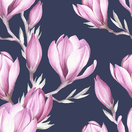 japanese garden: Seamless pattern with blooming magnolia twig. Watercolor illustration